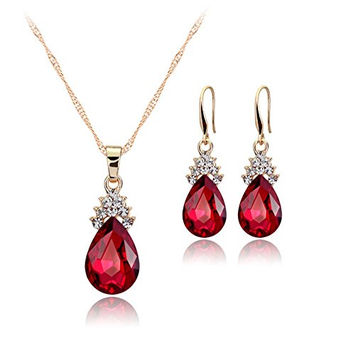Gespout Diamant Forme de cœur Collier Boucles d'oreilles élégante Femme Bijoux Cristal Ensemble de pendentif en cristal Collier + Boucles d'oreilles Rouge