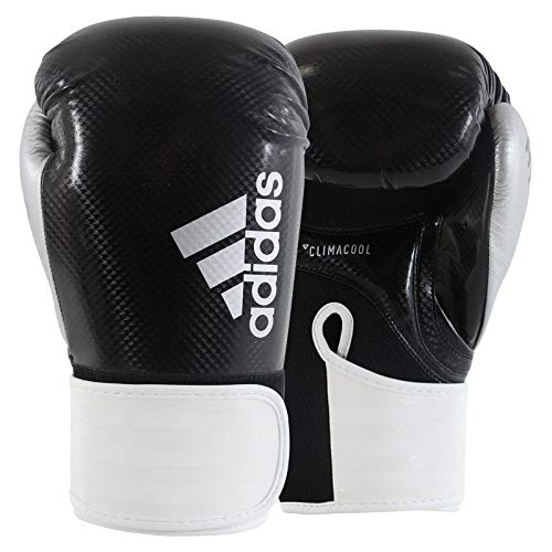 adidas Erwachsene Hybrid 75-schwarz/weiß/Silber 12 oz adiH75 Boxhandschuhe