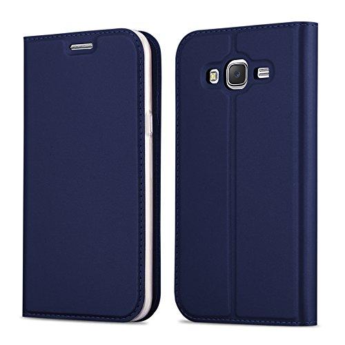 Cadorabo Funda Libro para Samsung Galaxy Grand Prime en Classy Azul Oscuro - Cubierta Proteccíon con Cierre Magnético, Tarjetero y Función de Suporte - Etui Case Cover Carcasa