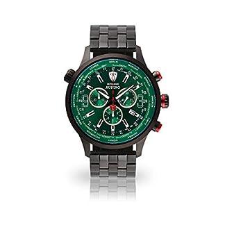 DETOMASO AURINO Reloj Caballero Cronógrafo Analógico Cuarzo Correa de Acero Inoxidable Negro Esfera Verde DT1061-K-867