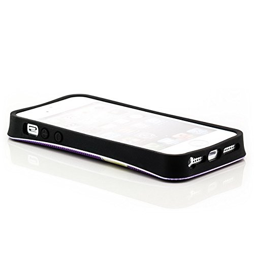 Saxonia Apple iPhone 5 5S SE Hülle Case Schutzhülle | Motiv: Kroko violett Schleife violett