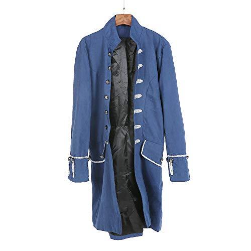 MYMYG Herren Steampunk viktorianischen Mantel mittelalterlichen Jacke Viking Renaissance formalen Frack Gothic Tuxedo Stehkragen Mantel Kostüm Frack Jacke Gothic Gehrock Uniform (Cropped Übergröße Kostüm)