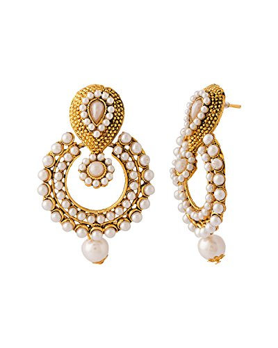 Dancing Girl White Pearl Dangle & Drop Earrings For Women/Girls