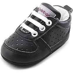 DELEBAO Zapatillas de Niño Zapatos para Bebé Primeros Pasos Calzado de Bebes Zapato con Cordones y Suela de Goma (Negro,12-18 Meses)