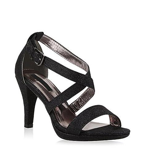 Party Damen Sandaletten High Heels Plateau Sandaletten Strass Nieten Damen Snake Lack Stilettos Schuhe 110387 Schwarz 39 |