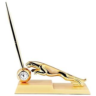 Horloge miniature Dawn - Pour table - Analogique - Avec mouvement à quartz - Motif: jaguar - Couleur: doré - 16 cm - 300402000051