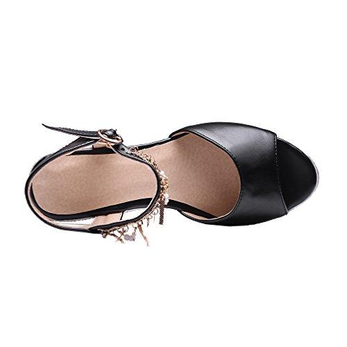 Con Nero Elegante Uh Metallo Sandali Alla Toe E Compensata Caviglia Donne Comodo Strass Peep Cinturino Con Talloni xf6xaqvF