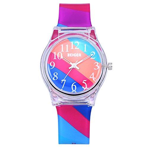 Reloj cuarzo nina chica analogico - Zeiger - reloj depotes agua resina deportivo para niñas y niños