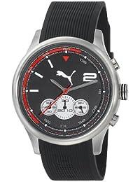 Puma Motorsport Wheel Chrono Unisex Quartz Watch with Black Dial Chronograph Display and Black Plastic or PU Strap PU102741002
