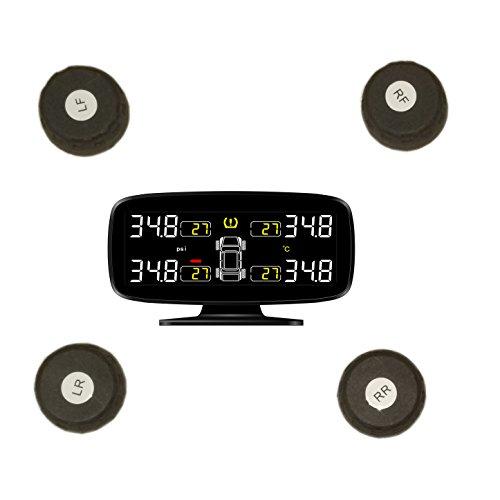Monitoraggio in tempo reale senza fili TPMS con display da 3 pollici a LED, 4 sensori esterni Guage di pressione digitale dei pneumat