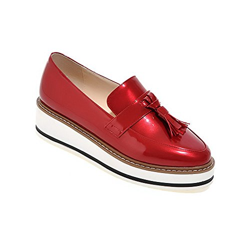 AllhqFashion Femme Rond à Talon Correct Verni Couleur Unie Tire Chaussures Légeres Rouge