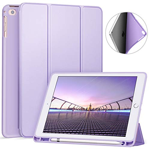 Ztotop Hülle für iPad 9.7 Zoll 2018,Ultradünne Soft TPU Rückseite Abdeckung Schutzhülle mit eingebautem Apple Pencil Halter, Automatischem Schlaf/Aufwach, für iPad 9.7 (6. Generation), Lila
