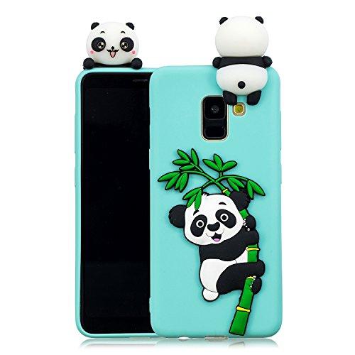 für Samsung Galaxy A6 2018 Silikon Hülle Neu 3D Panda Muster Ultradünn Hüllen Handyhülle Gummi für Galaxy A6 2018 Schutzhülle Stoßfest TPU Gel Stoßstange Cover (Grün) ()