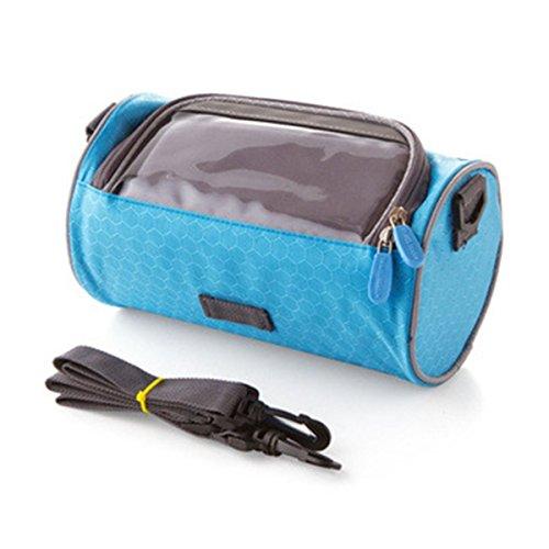 ZHIZU Fahrrad Lenkertasche Smartphone Speicherhalter mit Touchscreen transparent PVC Fahrrad Telefonhalter für iPhone 7 7 Plus SE 6s 6 Plus 6 5s 5 4s 4 Samsung Galaxy S6 S5 S4 LG Nexus HTC LG (Blue)