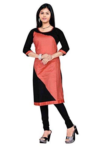 Cotton Kurtis by Sanvari fashion (Sfs-002-Orange & Black-L)