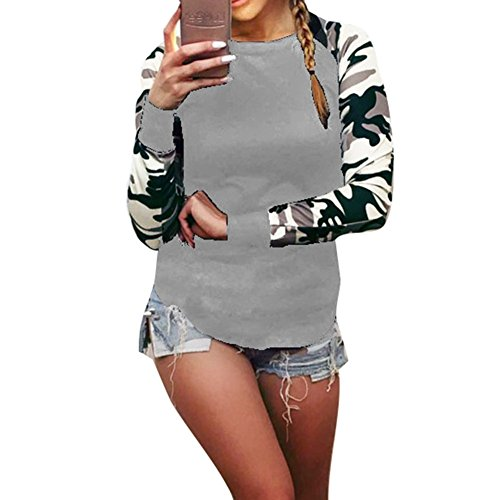 Juleya patchwork manica lunga Army Camouflage T-shirt Donne Top Grigio
