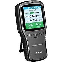 igeress Monitor de Calidad del Aire Interior formaldehído comprobador de detector de (HCHO)/pm2,5PM10/tvoc precisa pruebas con pantalla tiempo para casa coche al aire libre detectar