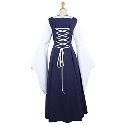 Cosplayitem Robe Médiévale Costume Victorienne Robe de Deguisement Manches Trompette Bleu et Blanc Bleu