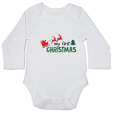 Body bébé hippowarehouse My First Christmas () à manches longues pour garçons filles - blanc - nouveau-né