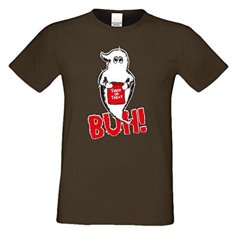 Geist Buh! ::: Lustiges Halloween-Fun-Kostüm-Sprüche-T-Shirt für Herren Teenager Party-Outfit-Bekleidung auch Übergrößen Farbe: braun Braun