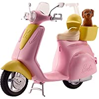 Barbie Moped, motorbike for doll, pink scooter with puppy and accessories FRP56