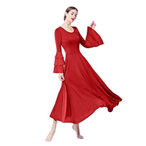 OBEEII Lyrical Dance Dress Für Damen Liturgisch Tanzkleid Tanzstrumpfhose Frauen Elegant Worship Tanzkleidung Samb Jazz Lateinischer Tanz Kirche Chor Beten Gebet Kostüm Rot ()
