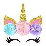 KREATWOW Décorations de Licorne pour Mur de Décor Décorations de Fête Anniversaire pour Filles Pompons en Papier avec Double Face Adhésive