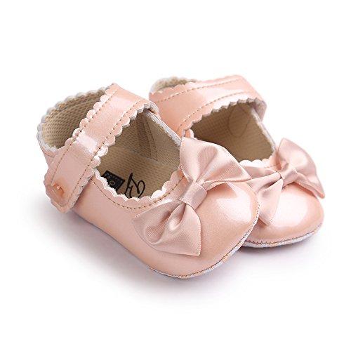Luerme Baby Mädchen Schuhe Kleinkind Niedlich Bowknot Prinzessin Schuhe Weich Sohle Anti-Rutsch Lauflernschuhe Krippeschuhe Champagner