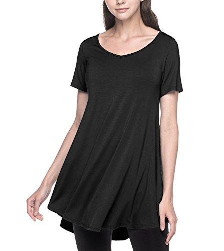 LAPASA Damen Lange Große Größen Longshirt, Kurzarm Basic T Shirts MEHRWEG - L020 (Schwarz, XL (letzter Abbildung zufolge)) -