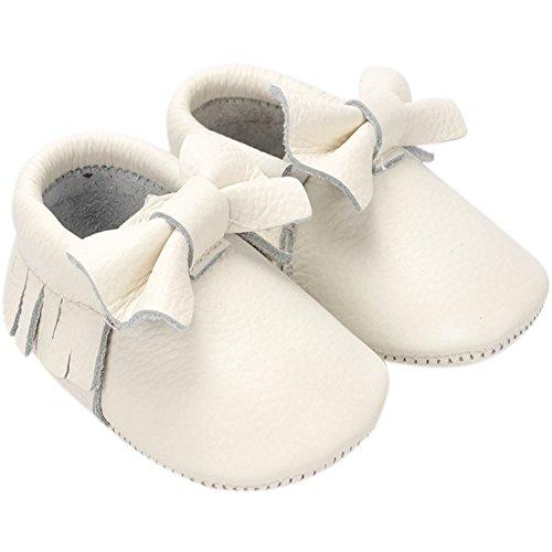 Fire Frog  Baby Fringe Shoes, Baby Mädchen Lauflernschuhe Weiß