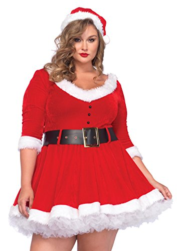 Leg Avenue 85411X Miss Santa - Größe 3X-4X EUR 48-50, rot/weiß (Plus Size Kostüme Frau)