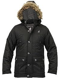 Mens Kangol Jacket Parka Coat Padded Hooded Fur Heavy Casual Lined (Medium, Black)