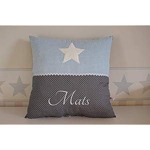 Kissen mit Stern und Namen blau hellblau grau personalisiert Kinderzimmerkissen Geschenk Babykissen Kinderkissen