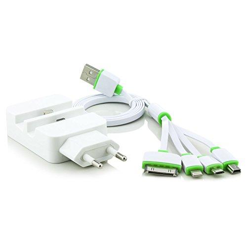 C.D.R. 2in1 Set Dockingstation Wandladegerät 8 Pin Dock Kabel Mini USB Micro USB 8 Pin 30 Pin Halter Ladestation für DOOGEE X5, DOOGEE Y100 PRO, DOOGEE Y100X, DOOGEE DG280 TIMMY E86, TIMMY M7, LANDVO L500, LANDVO L500S, SWEES, LENOVO A616, LENOVO A816, OUKITEL ORIGINAL ONE, OUKITEL ORIGINAL ONE DUAL SIM, OUKITEL U2, TAKWAK TW700 OUTDOOR, SAMSUNG GALAXY J1 j100H, BLACKBERRY P9982 PORSCHE, THL T6C, UHAPPY UP520, BUYEE MT6582, LEAGOO Elite 4 (Weiße Dock mit 4er Adapterkabel)