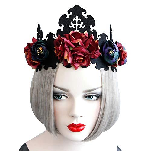 LNIMIKIY Königin Girlande Band elastisch Blume Krone Fancy Frauen Weihnachten Halloween Laides Kostüm Cosplay Blumen Party Gothic Wear, Wie abgebildet, Free Size (Halloween Für Flo-kostüm)