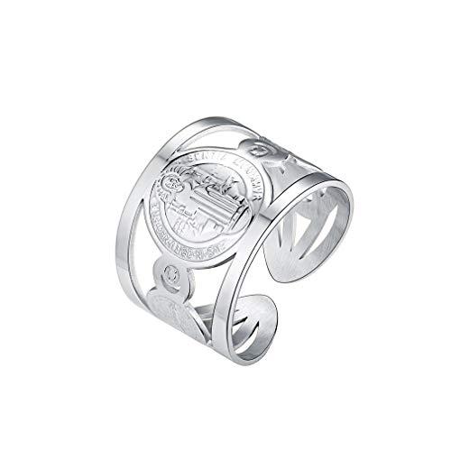 FaithHeart 316L Stahl Schmuck Männer breiter Rings 925 Sterling Silber Verstellbarer, St. Benedikt Ring Damen Midi Ring für Partnerringe Freundschaftsringe