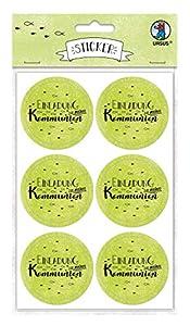 Ursus Pegatinas de invitación de mi comunión 59510012F, 24 Unidades, Autoadhesivas, diámetro Aprox. 4,8 cm, Verde Manzana