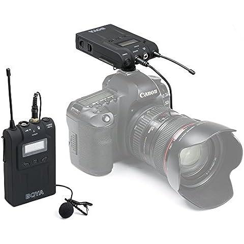 UHURU BOYA UHF - Microfono Lavalier omni-direzionale professionale, Wireless per videocamera ENG EFP DV DSLR, (48 canali, 100 m, 6 ore)