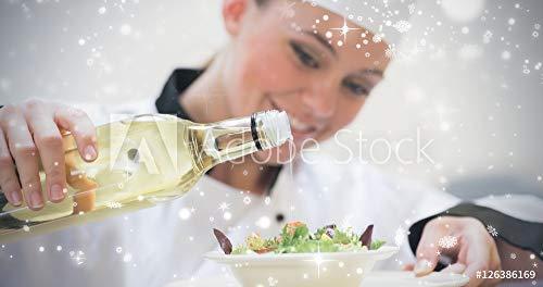 Composite-dressing (druck-shop24 Wunschmotiv: Composite Image of Smiling Woman Chef Dressing a Salad #126386169 - Bild auf Forex-Platte - 3:2-60 x 40 cm / 40 x 60 cm)