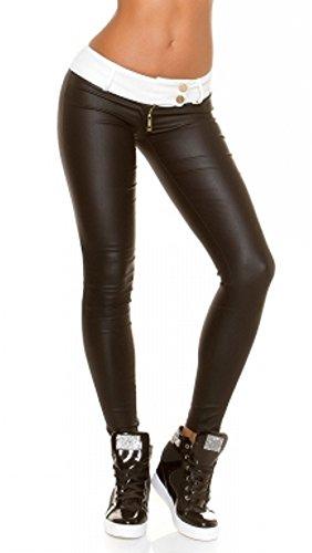 kouclaModa Damen Hose Wetlook breiter Kontrast-Bund schwarz weiß J18970 Größe M (Hose Kontrast-bund)