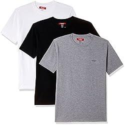 8f5ec792 27%off John Players Mens Cotton T-Shirt (8902986977579_JCMCTSCOR7001005_  XX-Large_GreyWhite Black)