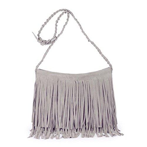 Fashion Fransentasche Damentasche aus Wildleder Beutel Taschen Schultertasche Umhängetasche mit Reissverschluss Grau