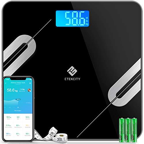 Etekcity Bluetooth Körperfettwaage Smart Digitale Waage mit APP für iOS & Android, Personenwaage für Körperfett, BMI, Gewicht, Protein, usw, größere Wiegefläche, gehärtetes Glas, bis 180 kg, Schwarz
