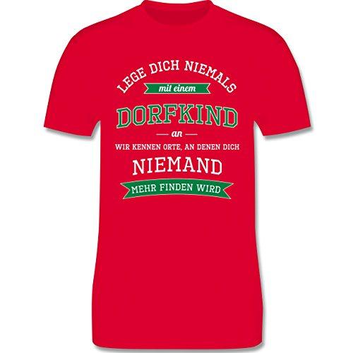 Sprüche - Lege dich niemals mit einem Dorfkind an - Herren Premium T-Shirt Rot