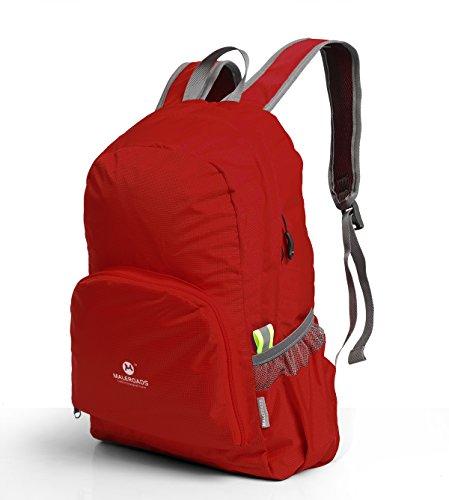 Ultra Leicht verstaubarer Rucksack kann Folding Travel Tagesrucksack Camping Wandern Rucksack Verbesserte Version 25L für Radfahren Schule Air Reisen Carry On Rucksackreisen für Damen und Herren Rot