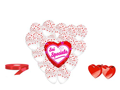 San valentino pallone foil cuore supershape forma cuore kit bouquet centrotavola festa amore innamorati - cdc - (1 pallone foil cuore,10 palloncini, 1 pesetto,1 nastro rosso )