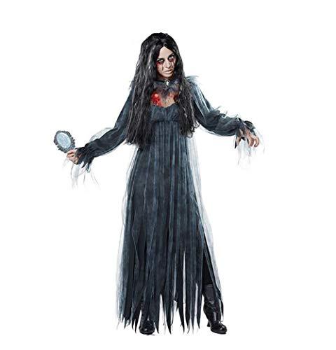 SHANGLY Damen Halloween Ghost Braut Kostüm Urlaub Party Zombie Geist Braut Cosplay Kleidung,Black,M