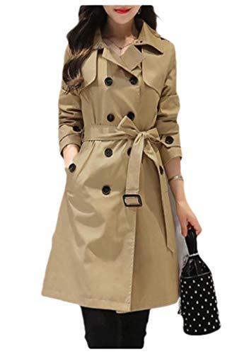 CuteRose Womens Lounge Wrap Coat Double-Breasted Belted Midi Jacket Overcoat Khaki 2XL Sleeve Belted Coat