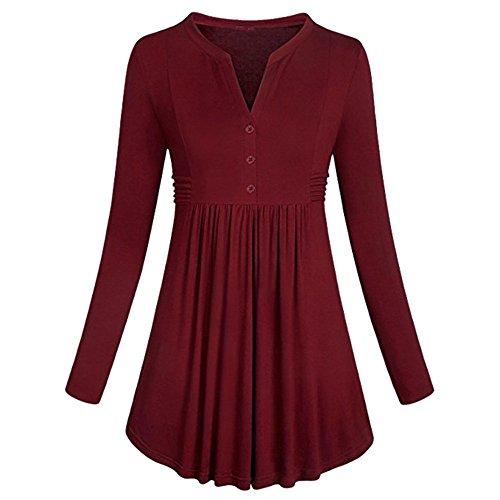 Damen Bluse Langarm, BeautyTop Frauen Langarm Stehkragen Shirt Plissee Button Flare Saum Tunika Bluse Tops (Rot, M) (Saum Tunika Flare)
