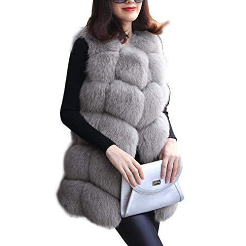Giacca di pelliccia donna eleganti smanicato pelliccia sintetica gilet parka invernale fashion vintage addensare caldo morbidi classiche canottiera di pelliccia cappotto colori solidi donne
